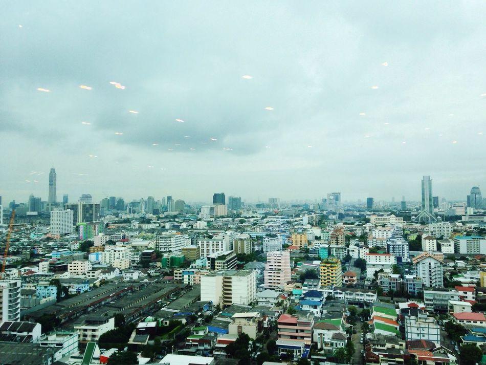 Rain come 32 Floor AIA Capital Center Ratchadapisek Rain Coming Cloudy Sky Landscape View Of Bangkok Far Morning Ascend Thailand Office