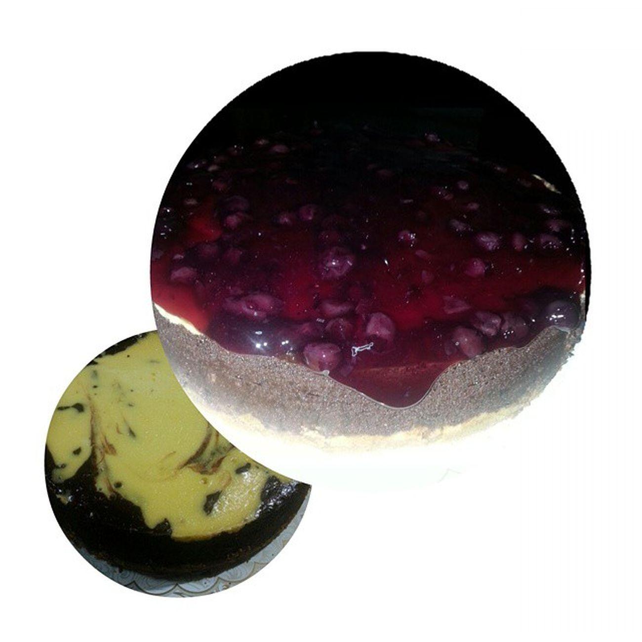 chocolate vanilla blueberry cheesecake Ourfavorite