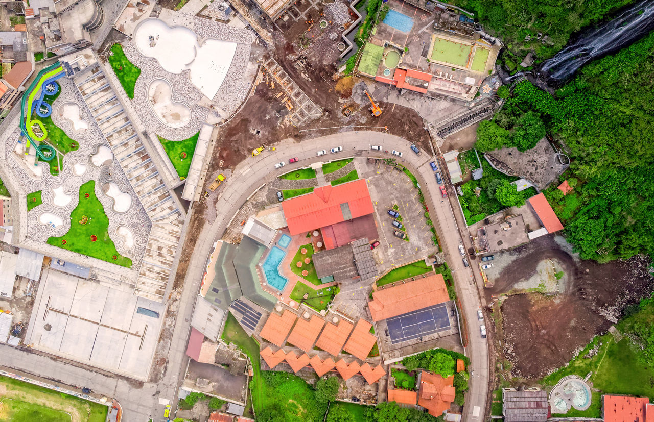 Aerial Shoot Of Banos De Agua Santa, Ecuador, South America Above Aerial Aerial City Aerial Photography Aerial Shot Aerial View Architecture Architecture Baños De Agua Santa City Day Daylight Drone  Dronephotography Droneshot Fly High Angle View No People Outdoor Outdoor Photography Outdoors Pool Roof South America Waterfall