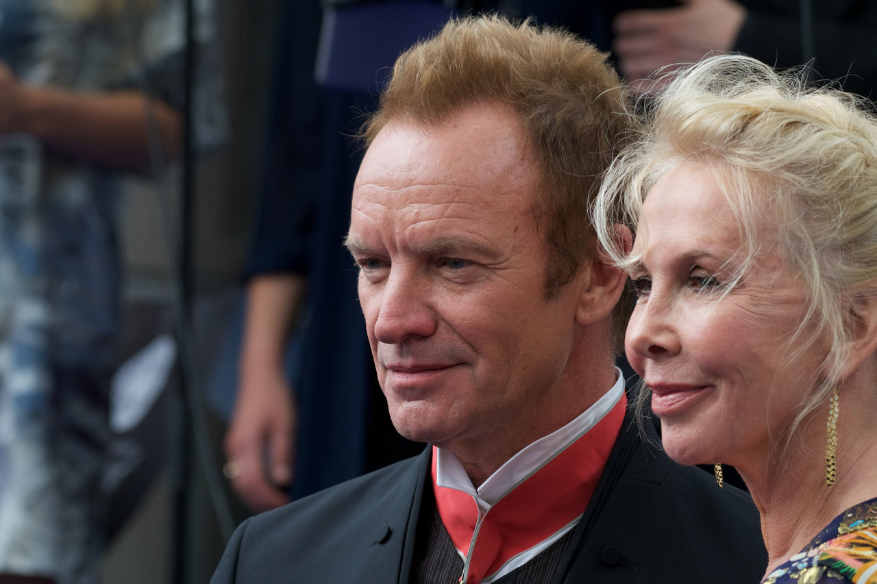 Sting with his wife Trudie Styler Artist Sting Before The Ceremony Close-up Couple - Relationship Happiness June 15, 2017 Love Outdoors Outside Polar Music Prize 2017 Real People Smiling Stockholm, Sweden Two People Wife Trudie Styler