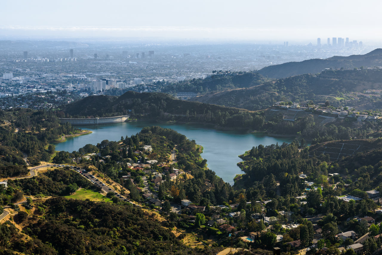 Neighborhood Map Lake Landscape Outdoors Tree Forest No People Fog Mountain Water Pinaceae Travel Destinations Scenics Sky Winter Nature Day Cityscape City Hiking Aerial View Beauty In Nature Runyon Canyon