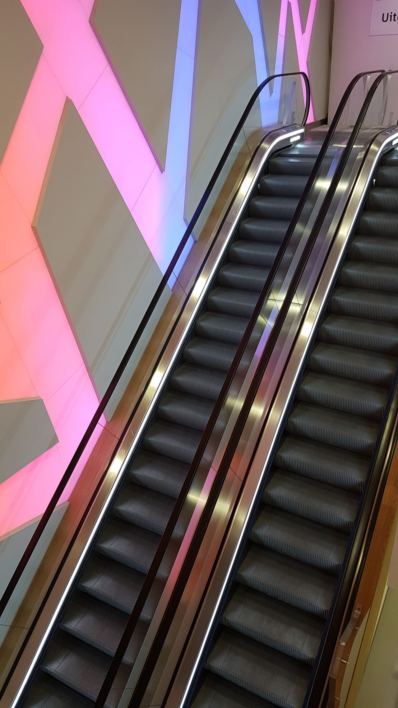 Architecture Built Structure Escalator Futuristic Indoors  No People Pink Color Purple Railing Shiny Staircase Steps Steps And Staircases Technology Up And Down