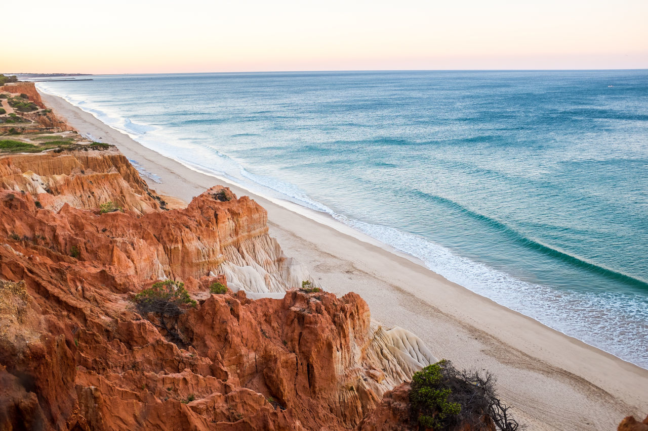 Daydream Rocks Ocean Horizon Over Water Nature Sand Landscape Portugal Algarve Beauty In Nature First Eyeem Photo X100S Paradise Sunrise Sunny Sunset Outdoors Summer Beach Water No People Holiday Vacations Sun Sand Dune