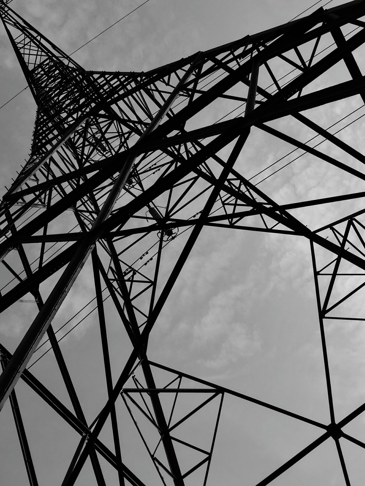 Beautifully Organized Sky Tower Cloud - Sky Electricity Pylon Low Angle View Metal No People Grid Girder Outdoors Day