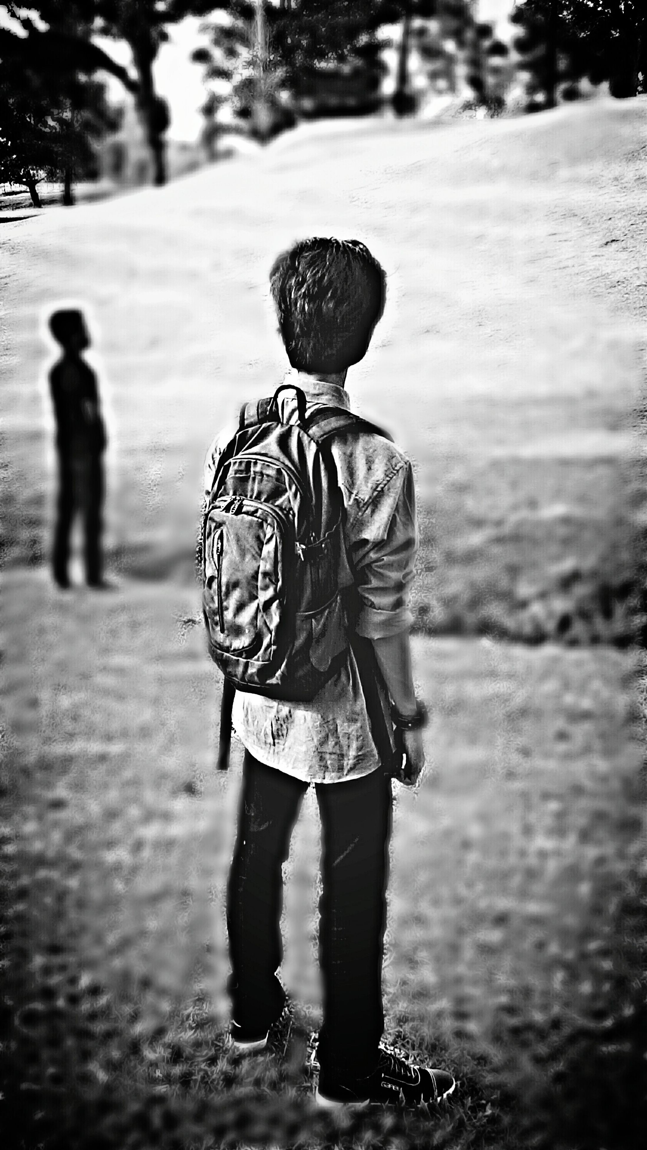 focus on foreground, lifestyles, rear view, full length, childhood, leisure activity, casual clothing, boys, walking, street, elementary age, girls, day, innocence, outdoors, standing, selective focus, incidental people