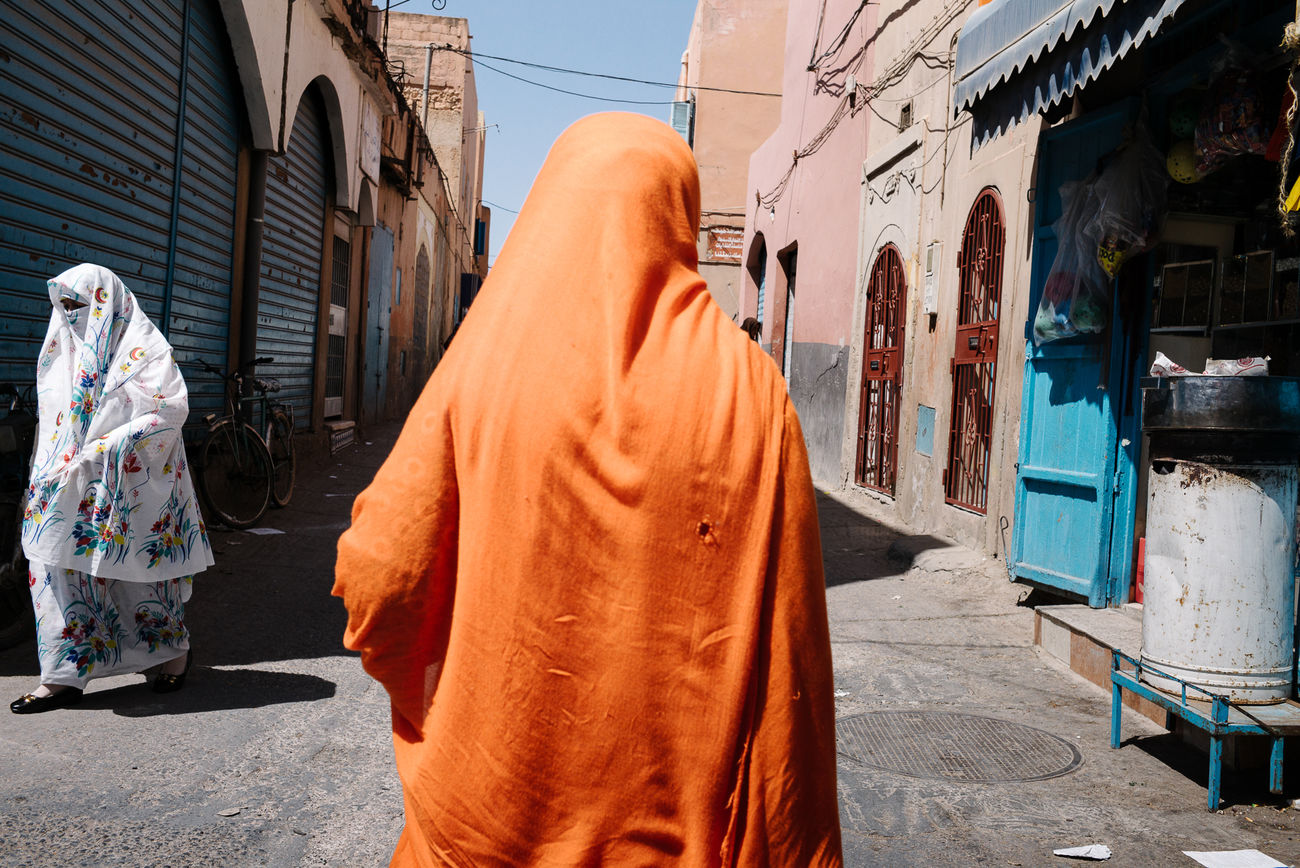 women in traditional clothing on the street of Moroccan city Day Orange Color Real People Sky The Street Photographer - 2017 EyeEm Awards Traditional Clothing Walking Women