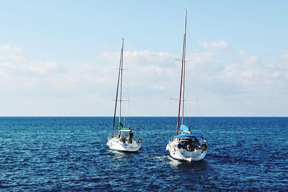 Tel Aviv Sea Sky Water Transportation Nautical Vessel Mode Of Transport Nature Horizon Over Water Waterfront Sailing Beauty In Nature Travel Destinations Traveling Travel Photography Transportation Vehicle Boats Sailing Boat Vacations Outdoors Scenics Sailboat Day No People