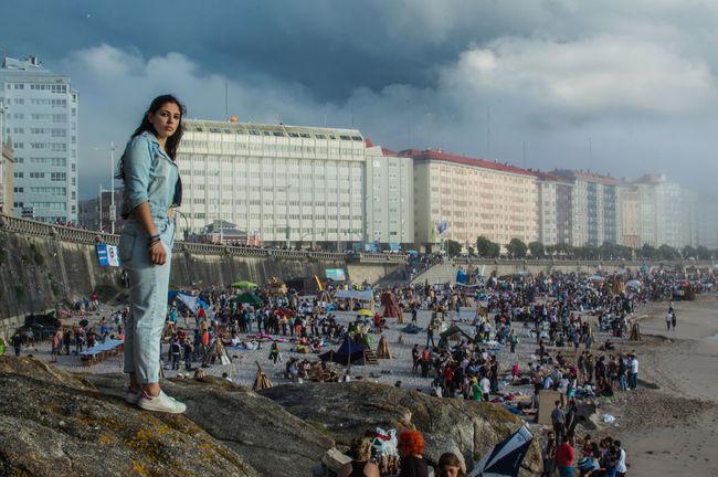A Coruna, Spain, 06/2016, Festivities of Sain's John Eve - San Juan A Coruña Adult Celebration Everyday Joy Fiesta Fiestas Outdoors People Person Saint John Sand Sky
