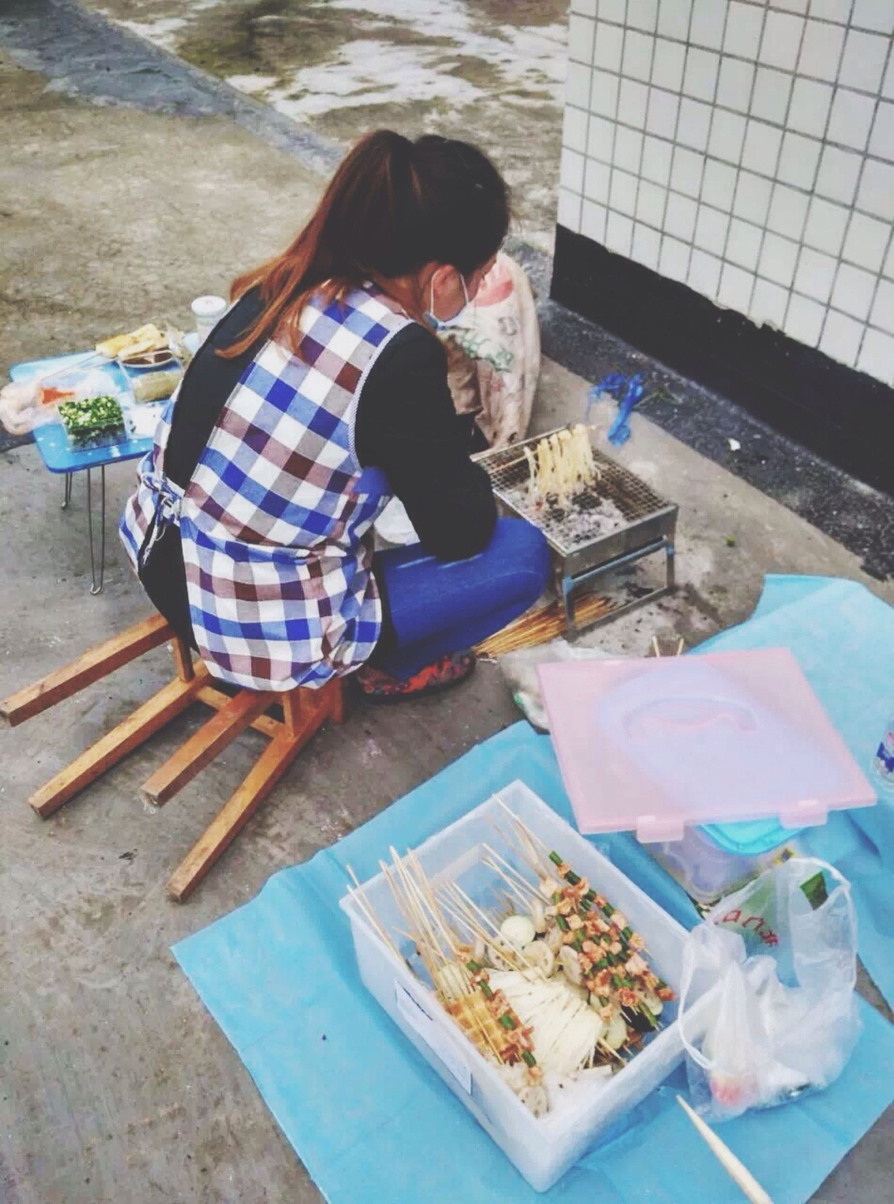 childhood, full length, lifestyles, leisure activity, casual clothing, elementary age, girls, boys, sitting, person, innocence, high angle view, rear view, holding, standing, playing, food and drink