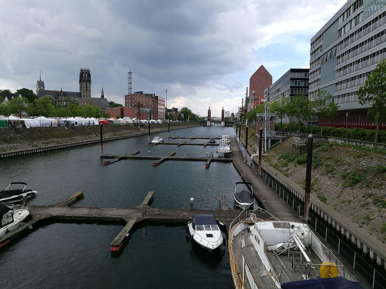 Marina Markt Duisburg Duisburg Innenhafen Duisburg Duisburg   Germany Marina Market Clouds And Sky Clouds Ship Ships River