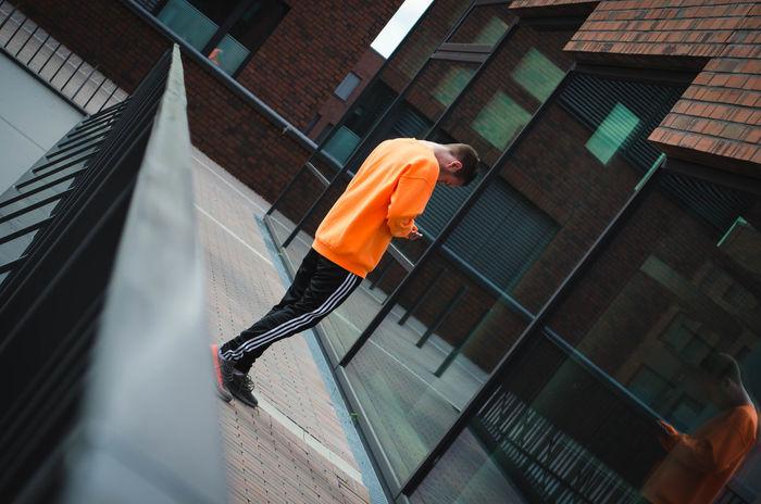 Architecture Beluga Fence Focus On Background Mirror Orange Color Outdoors Yeezy