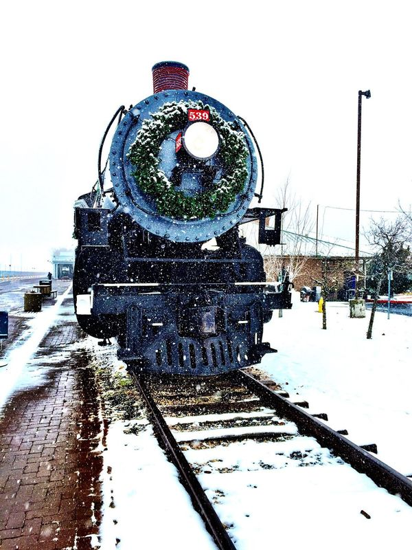 """Christmas Train"" Vintage black locomotive engine at the Grand Canyon Railway yard in Williams, AZ. Railway Railroad Grand Canyon Railway Trainengine Trainphotography Train Trainyard Railwaystation Railyard"