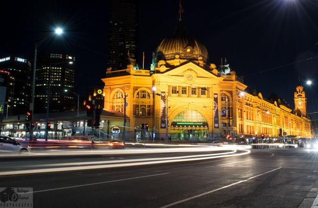Night Lights Light Trails Flinders St #Melbourne Flinders Street Station