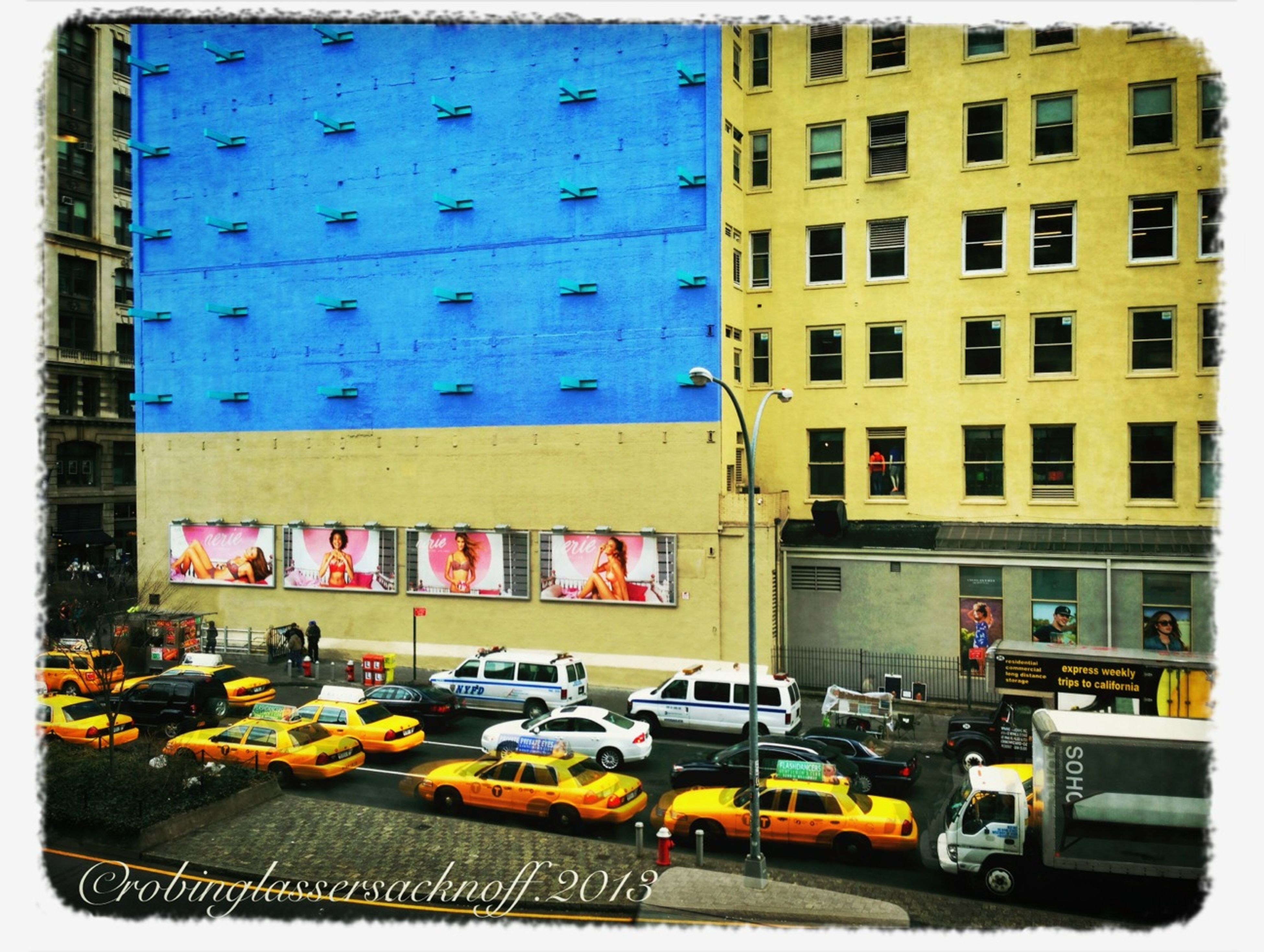 transfer print, building exterior, architecture, land vehicle, built structure, auto post production filter, car, transportation, mode of transport, city, street, building, city life, stationary, window, day, parking, incidental people, in a row, residential building