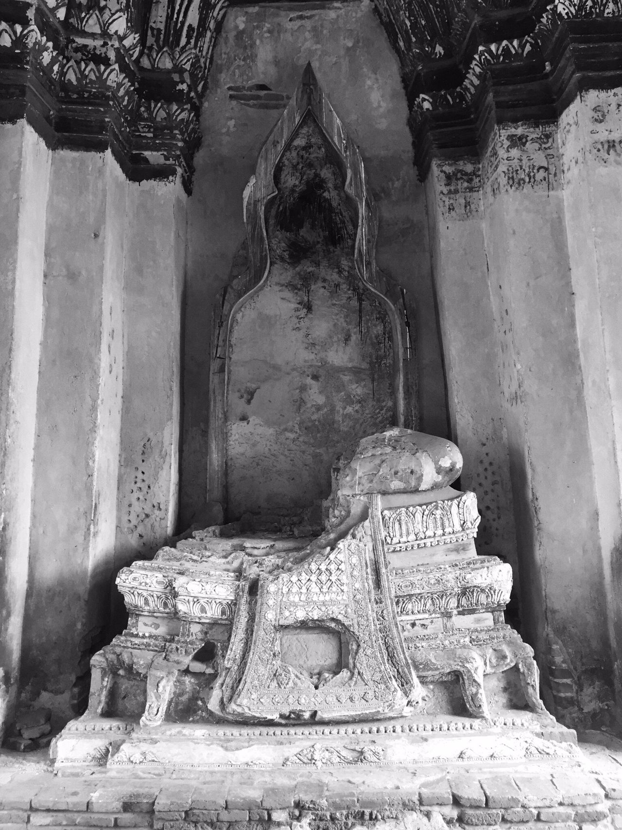 Spirituality Religion Built Structure Architecture Place Of Worship Travel Destinations History Architectural Column The Past Ancient Civilization Ancient Famous Place Obsolete Tourism Archeology Archaeology Stone Weathered Memories Ayuthaya Thailand Temple Budda Statue Budda In Temple Grounds