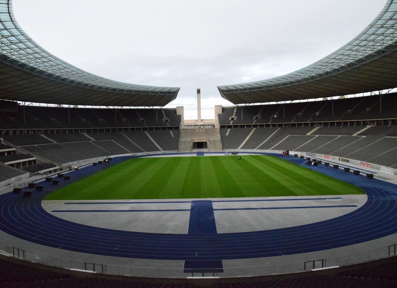 Berlin Day Event Grass Green Color Hertha BSC No People Olympic Olympic Stadium Outdoors Sky Soccer Sport Stadium