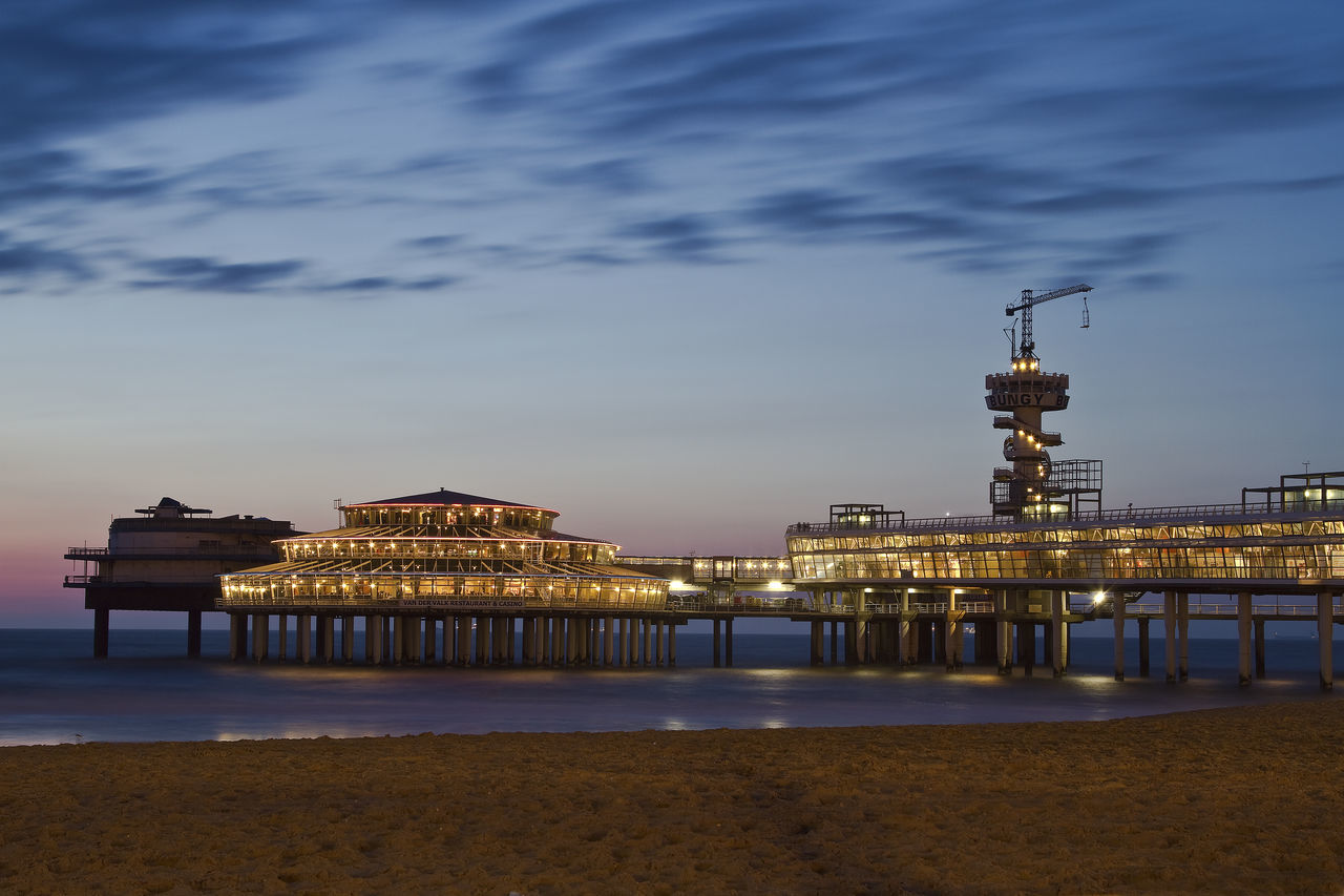 Architecture Beach Building Exterior Built Structure Cloud - Sky Day Illuminated Nature No People Outdoors Place Of Worship Scheveningen  Scheveningen Pier Scheveningenbeach Sea Sky Travel Destinations Water