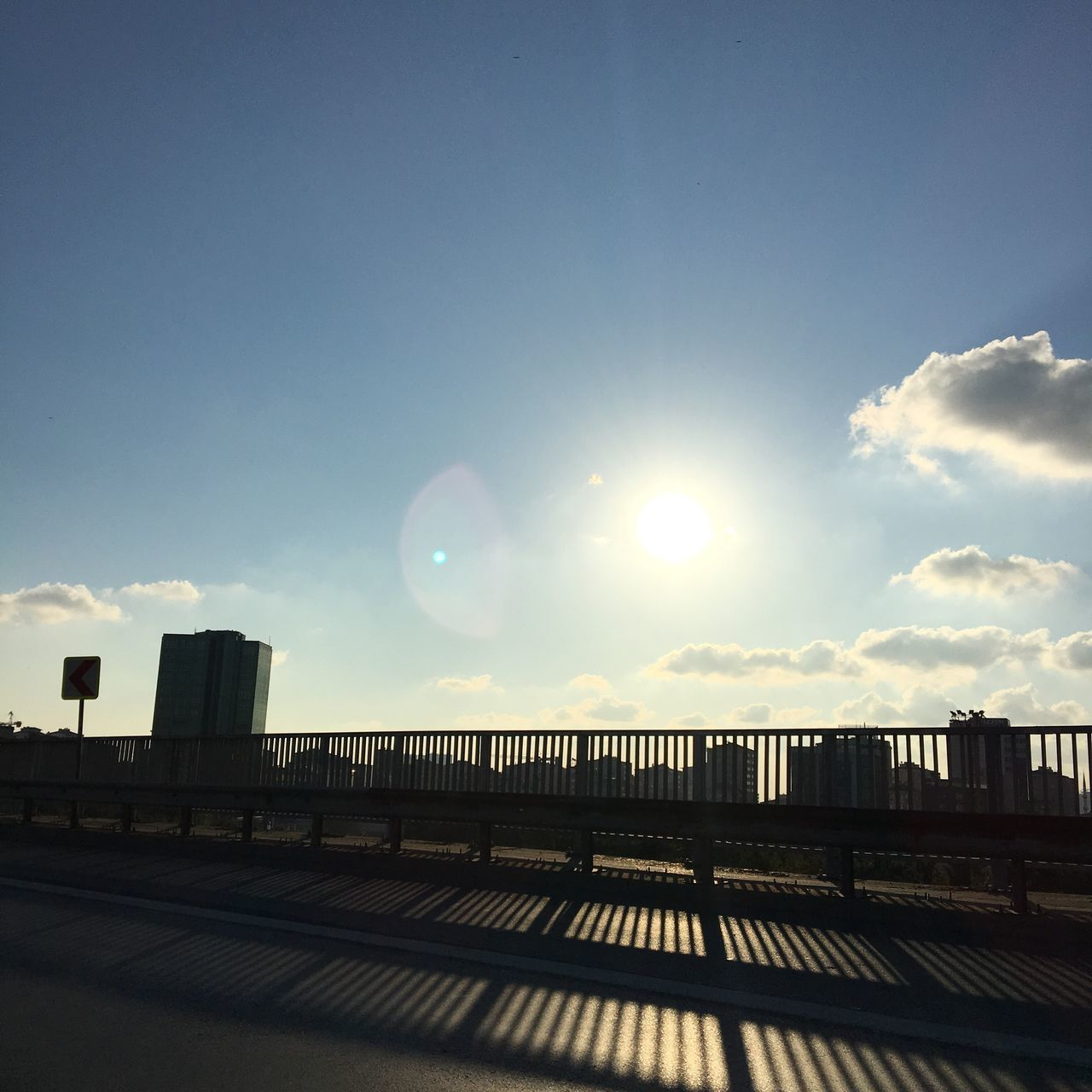 sunlight, railing, sky, sun, sunset, outdoors, day, no people, built structure, architecture, nature