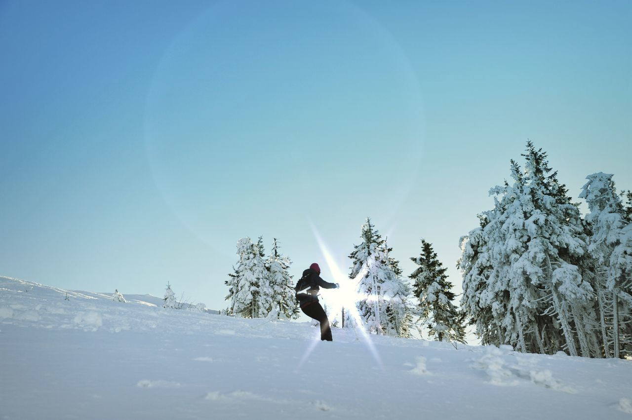 Snow Sports One Person Snow Winter Clear Sky Real People Leisure Activity Lifestyles Full Length Nature Day Tree Outdoors Cold Temperature Sunlight Sky Beauty In Nature Motion Men Adventure Landscape