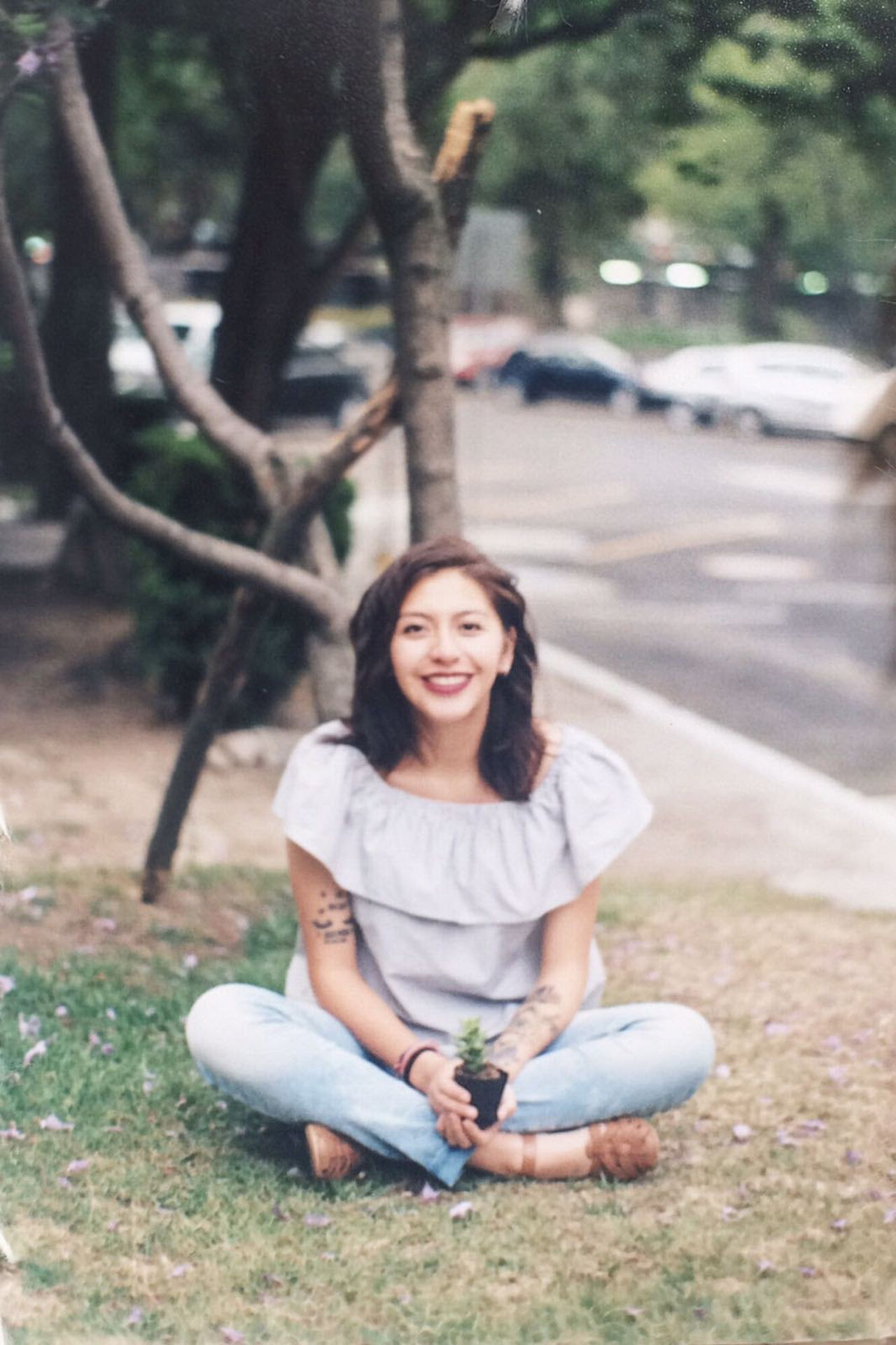 Sitting Smiling Cross-legged Happiness Adult Casual Clothing Only Women Nature One Person People Women One Woman Only Full Length Outdoors Tree Adults Only Portrait Beauty Relaxation Beautiful People Filmisnotdead