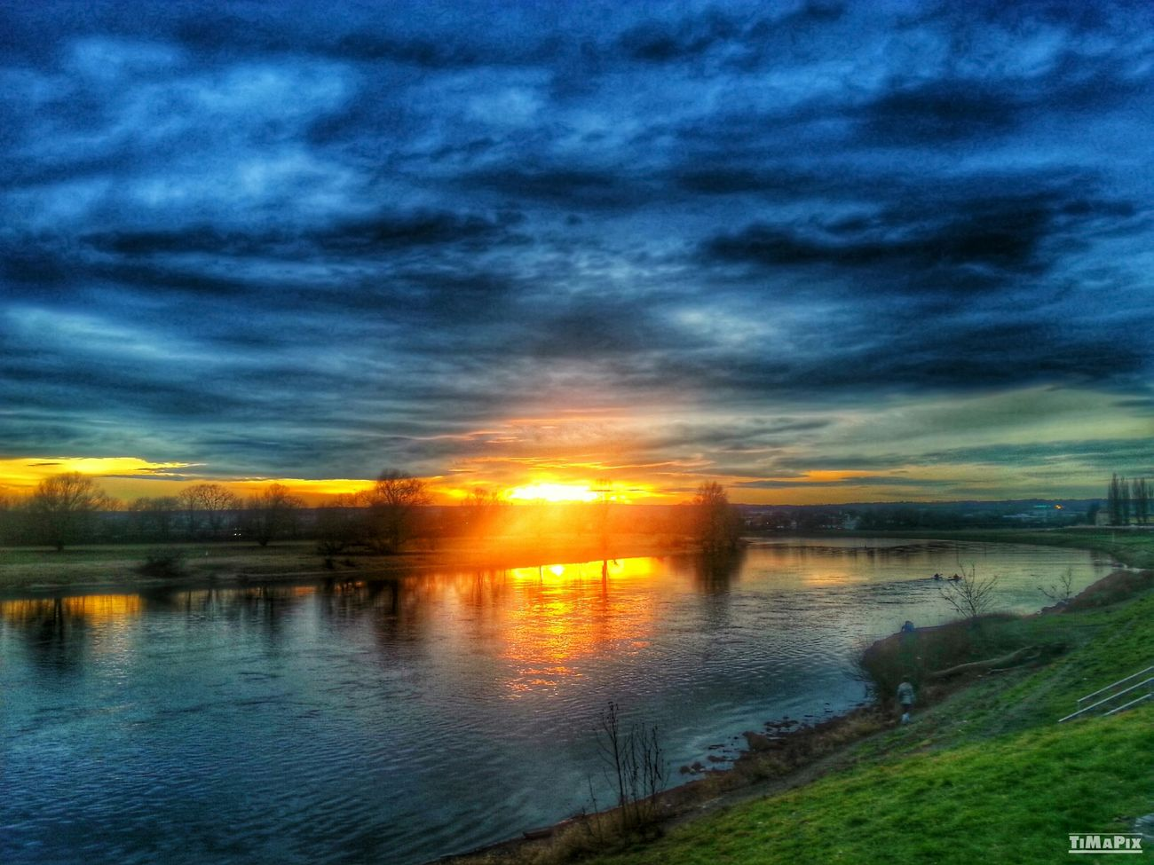 HDR Sunset Dresden Elbe