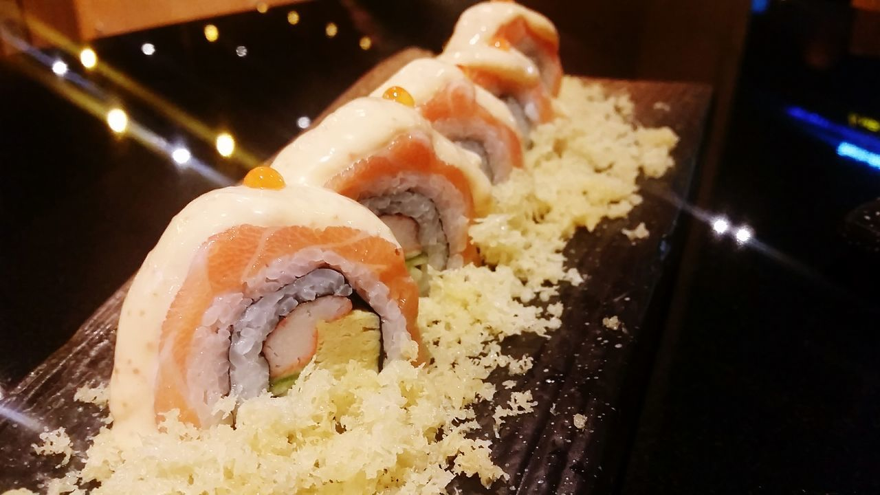 Salmon Maki Close-up Bangkok Thailand. Ready-to-eat Meal Food Salmon Sushi Dinner Japanese  Japanese Food Salmon Dinner Salmonmaki Makimaki