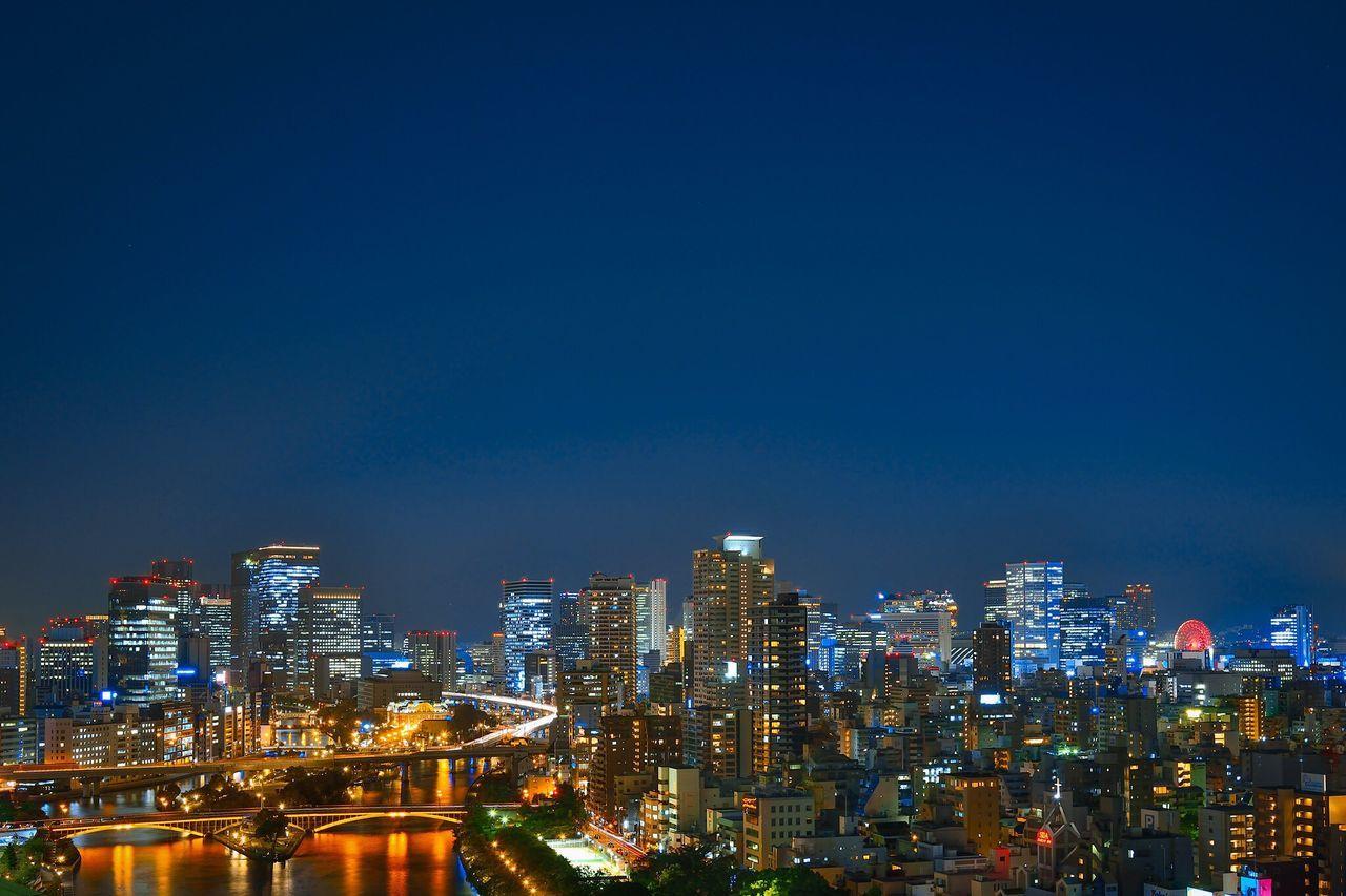 OMMビル屋上からの夜景 3 Japan Osaka-shi,Japan Twilight Night Lights Night View Buildings Cityscape Nightshot Twilightscapes