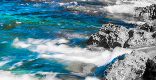 Beauty In Nature Blue Decolored Manipulated Motion Non-urban Scene Outdoors Rock - Object Rock Formation Scenics Water