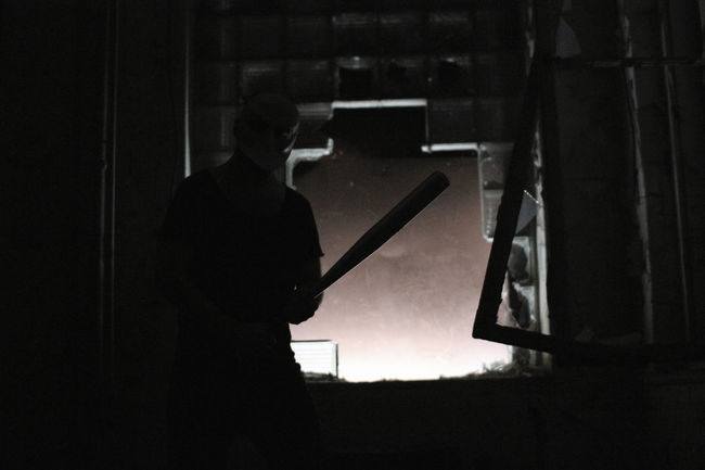 Baseball Bat Bat Dark Day EyeEm Factory Adventure Leisure Activity Lifestyles Mask Scary Unrecognizable Person
