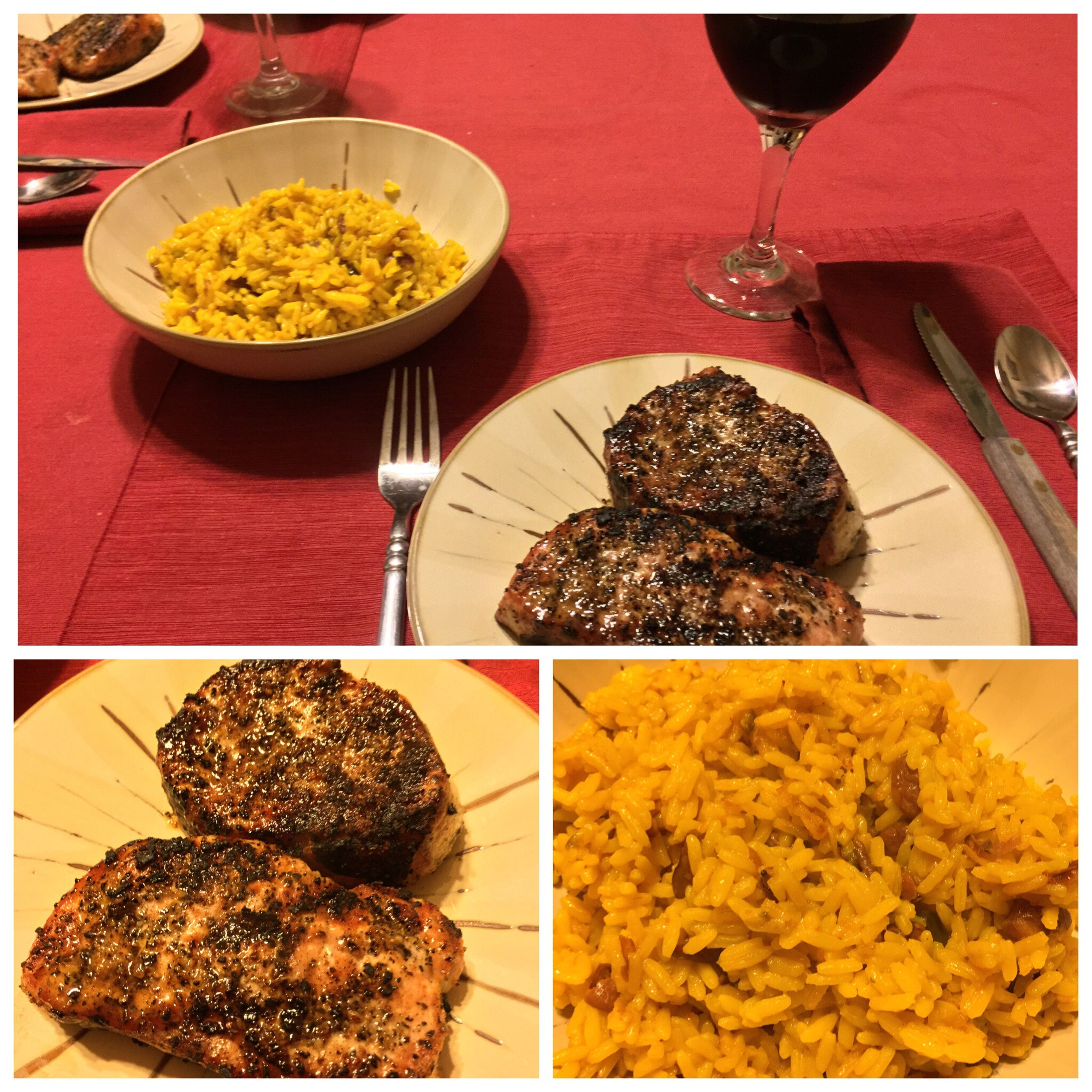 Last night, I grilled pork chops. Served them with yellow Spanish rice with red beans and my homemade 2014 Californian Chianti. ICanCookMyAssOff ItsAnItalianThing Grilling HomemadeItalianWine Nomnombomb Food Porn Awards MyFoodPics Food Porn