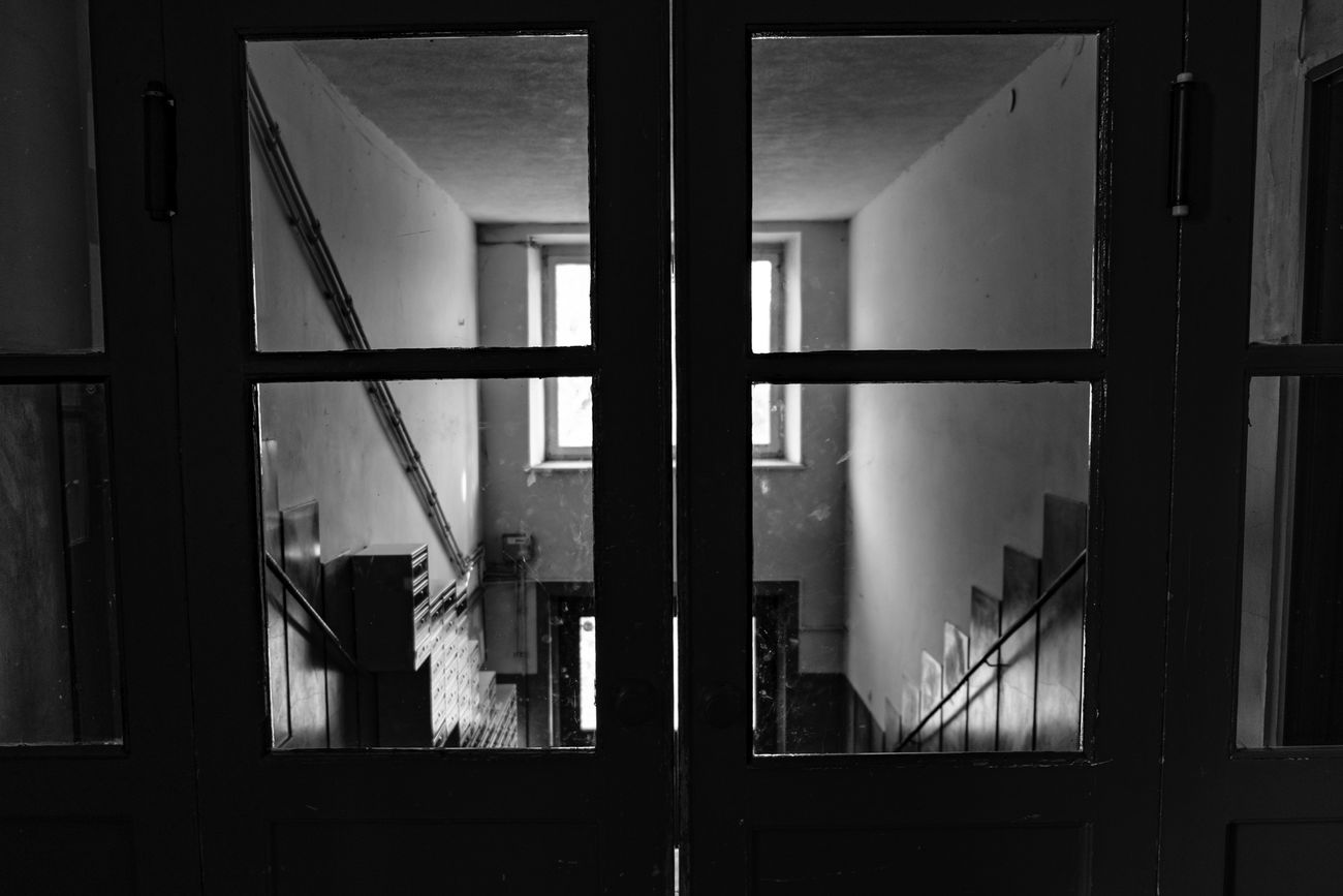 Going out to see the world. [13/365] 2016.10.22 365 365 Day Challenge 365project AcroS Architecture Blackandwhite Close-up Dark Darkness And Light Day Door Exit Hall Indoors  Light Light And Shadow No People Point Of View POV Staircase Stairway Window
