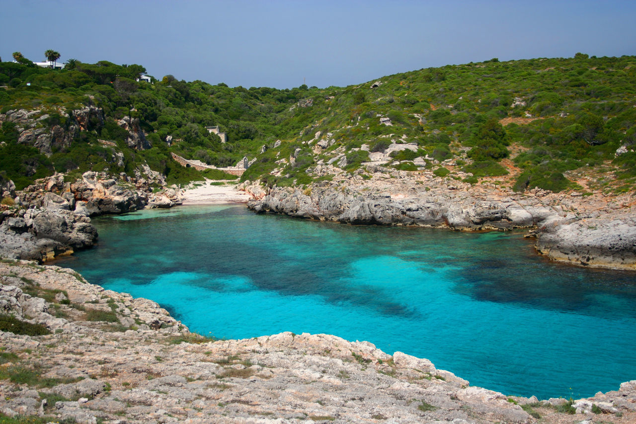 Beauty In Nature Blue Blue Wave Calm Day Growth Idyllic Landscape Menorca Nature No People Outdoors Remote Rock Formation Rocky Beach Rocky Coastline Scenics Sky The KIOMI Collection Tranquil Scene Tranquility Tree Water