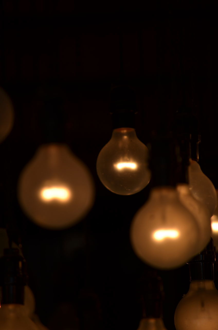 illuminated, lighting equipment, indoors, no people, hanging, close-up, light bulb, night