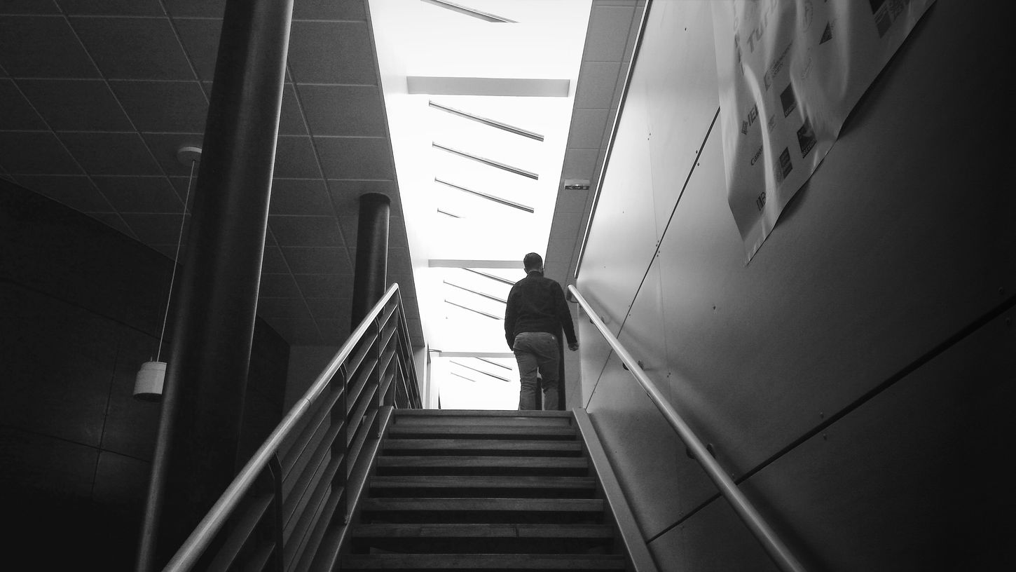 Someone Climbing Stairs At The Univercity