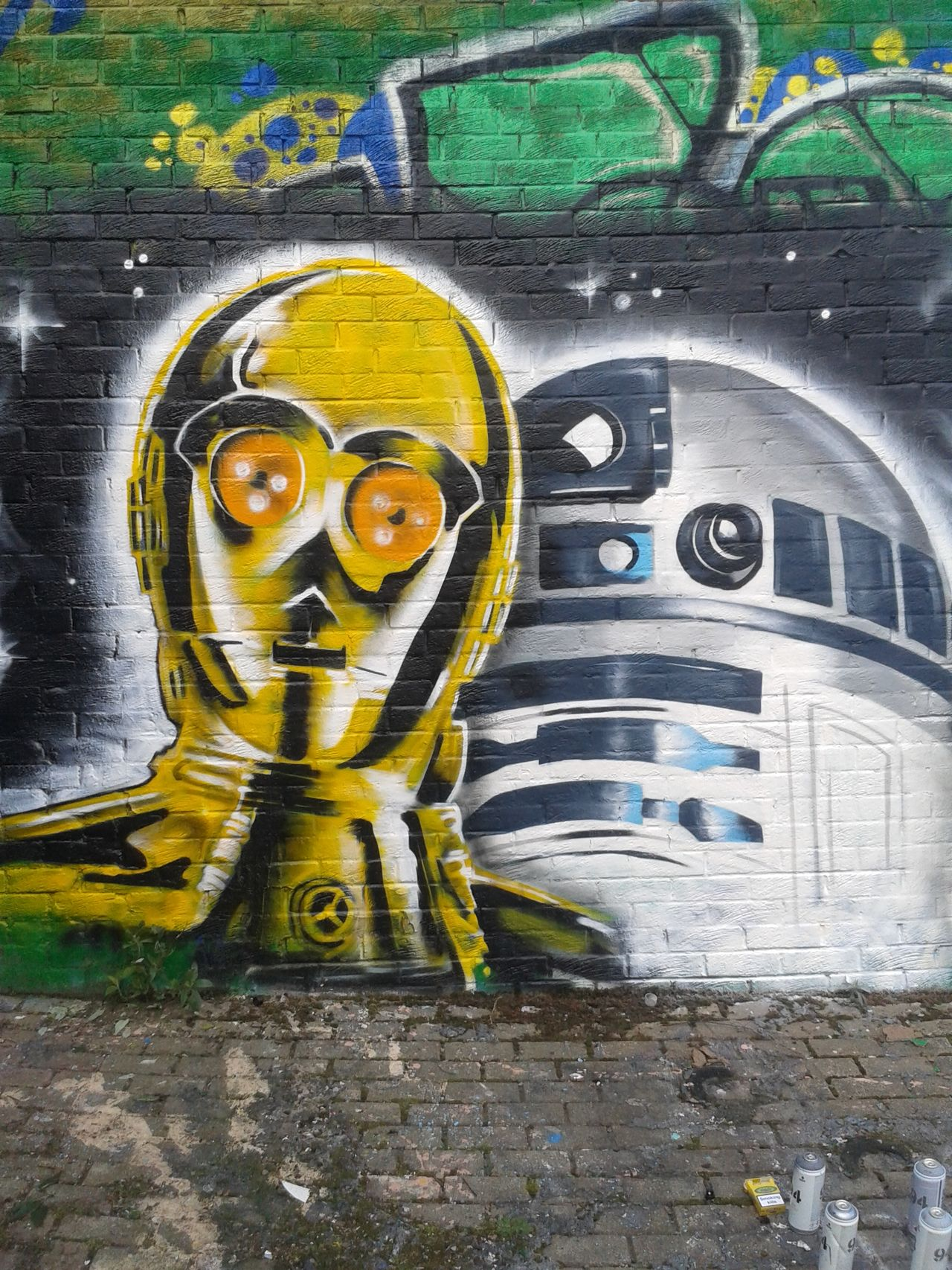 Art Art And Craft Creativity Human Representation Statue Spirituality Sculpture Religion Day Multi Colored Outdoors Place Of Worship Golden Starwars C3po R2D2 Spraypaint Graffitti