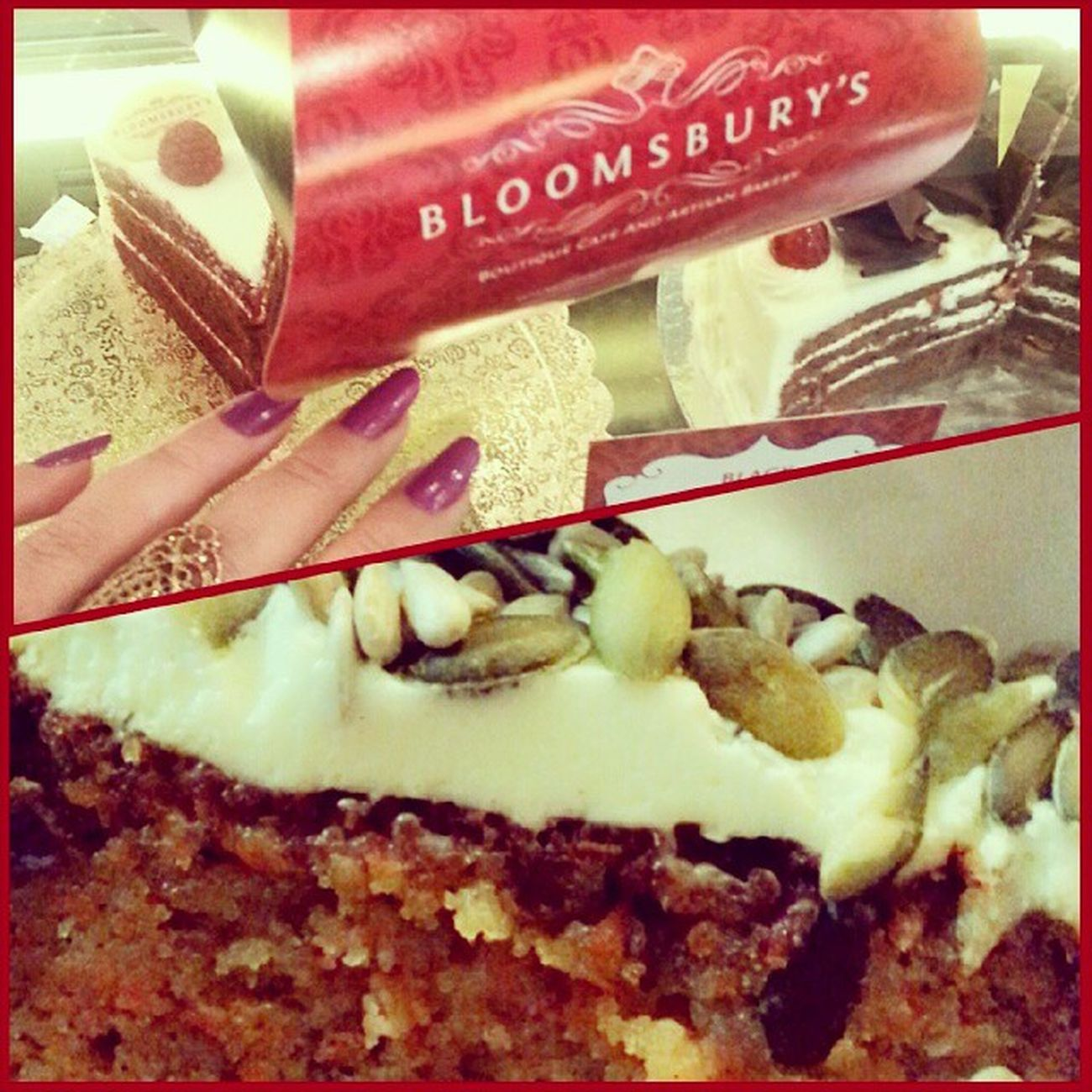 Something a little devilish for dinner.. Carrotcake Bloomsburys Alwahda Alwahdamall yummy cake abudhabi uae ♡