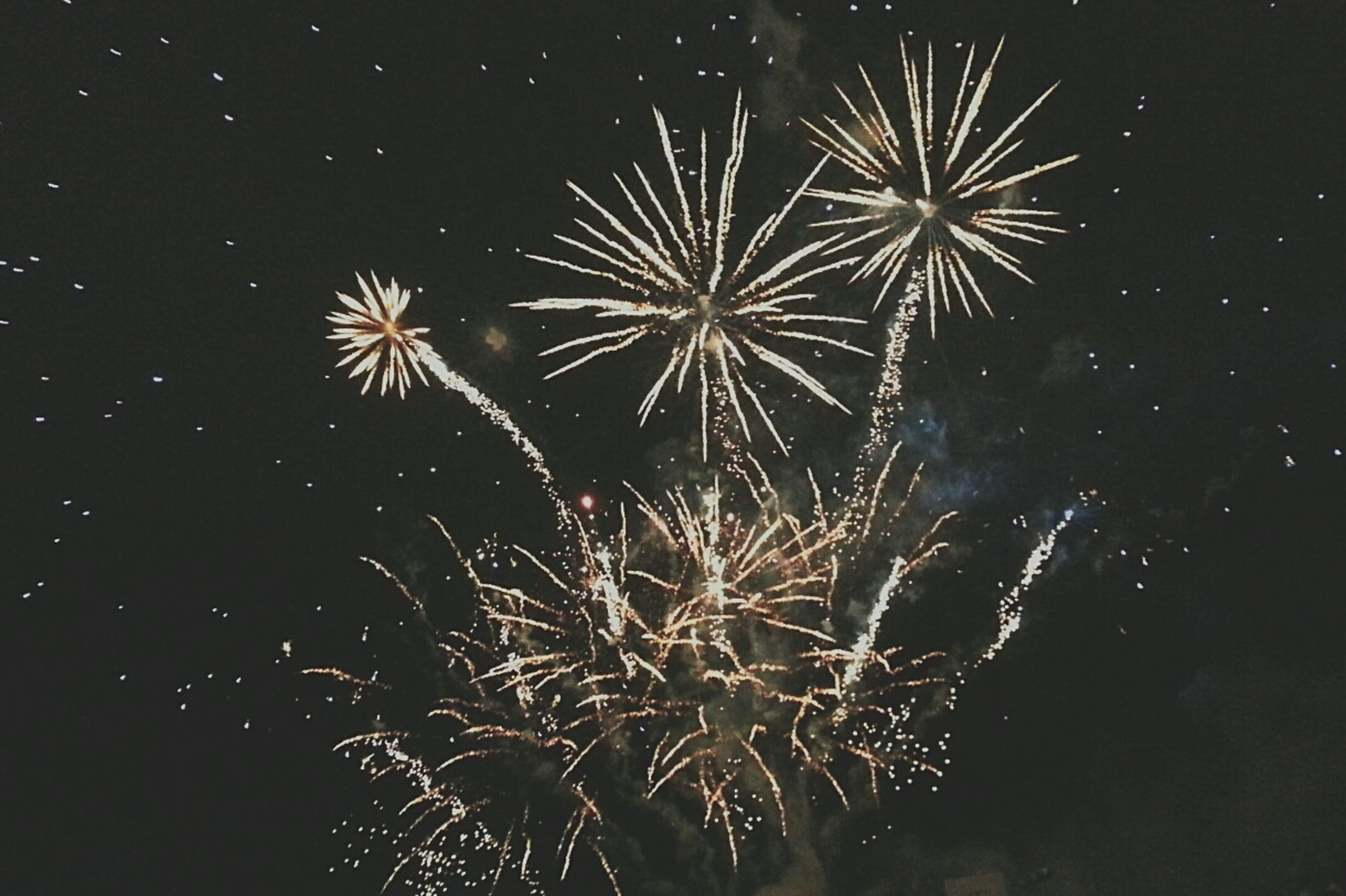 night, firework display, celebration, low angle view, exploding, illuminated, firework - man made object, long exposure, glowing, motion, sky, sparks, arts culture and entertainment, firework, blurred motion, event, entertainment, outdoors, celebration event, no people