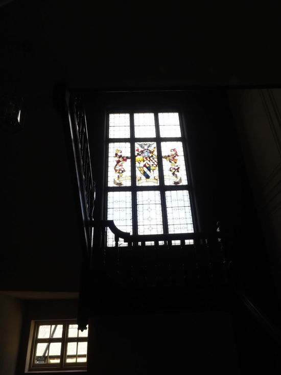 Faded coat of arms Window High Architecture Bright Daylight Day Indoors  Low Angle View No People Window