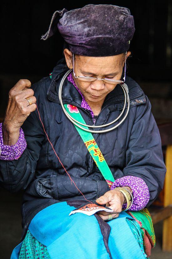 Linen cooperative, Lung Tam village, Vietnam. Real People People Travel Destinations Craft Embroidery Linen Vietnam