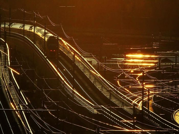 Transportation Illuminated High Angle View Train Sunset Night City Architecture EyeEmNewHere Adapted To The City Miles Away