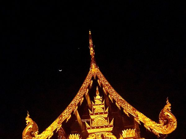 Temple Butiful♥ Temple Thailand Gold Colored Temple - Building Templephotography Old Style Old Structures One Star The Moon The Moon Now The Moon Tonight The Moon Collection Low Angle View Built Structure Night Illuminated Sky Dark Sky