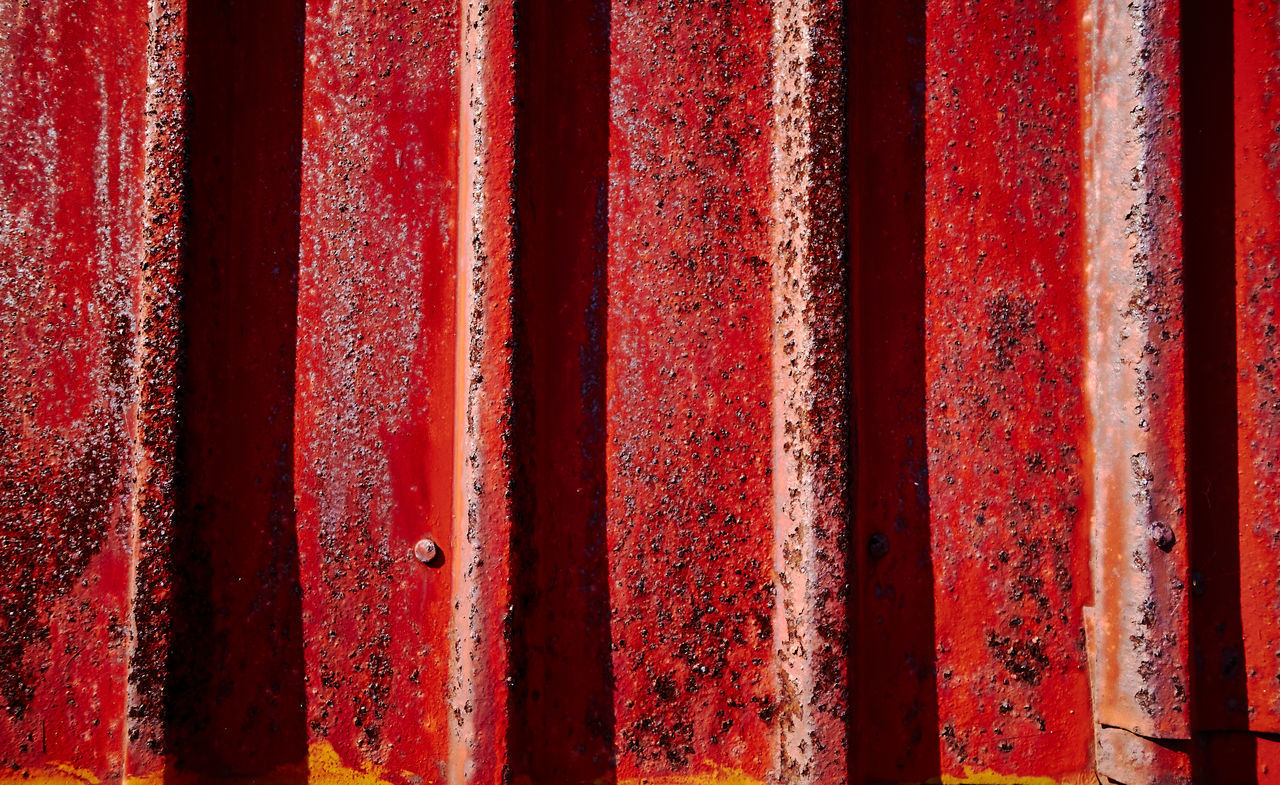 full frame, red, backgrounds, rusty, weathered, metal, no people, day, close-up, pattern, textured, paint, outdoors, corrugated iron