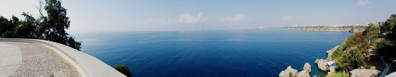 Panorama Wideshot Mediterranean  Sea Sea Wall Clear Skies Sunny Days World Travel Turkey Turkish Assalamualaikum 2015  Mobilephotography Journeys Worldwide Peace