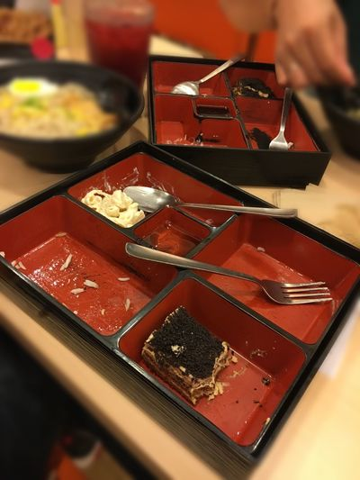 Food And Drink Food Indoors  Japanese Food Table Serving Size Chopsticks Freshness Ready-to-eat Close-up Healthy Eating One Person Human Hand Sushi Human Body Part Day People Done Eating Leftovers Bento Box Bentobox Finished Bento