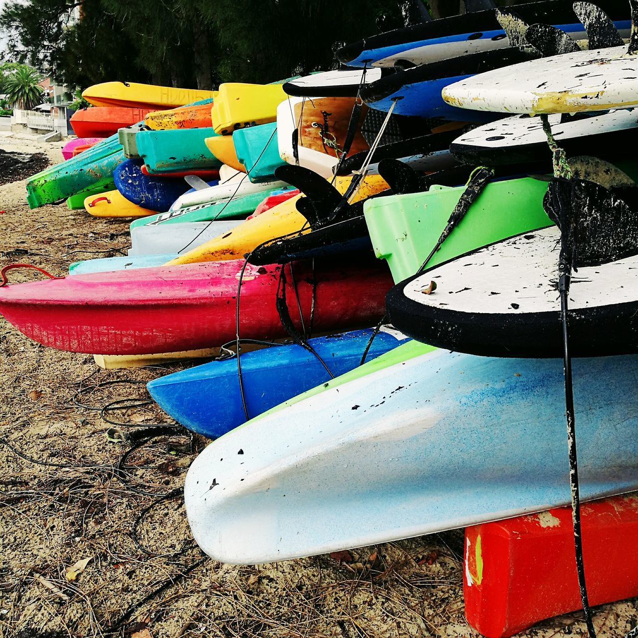 EyeEmNewHere Multi Colored No People Day Close-up Water Outdoors Huaweiphotography HuaweiP9 Mobilephotography Canoes Surfboard