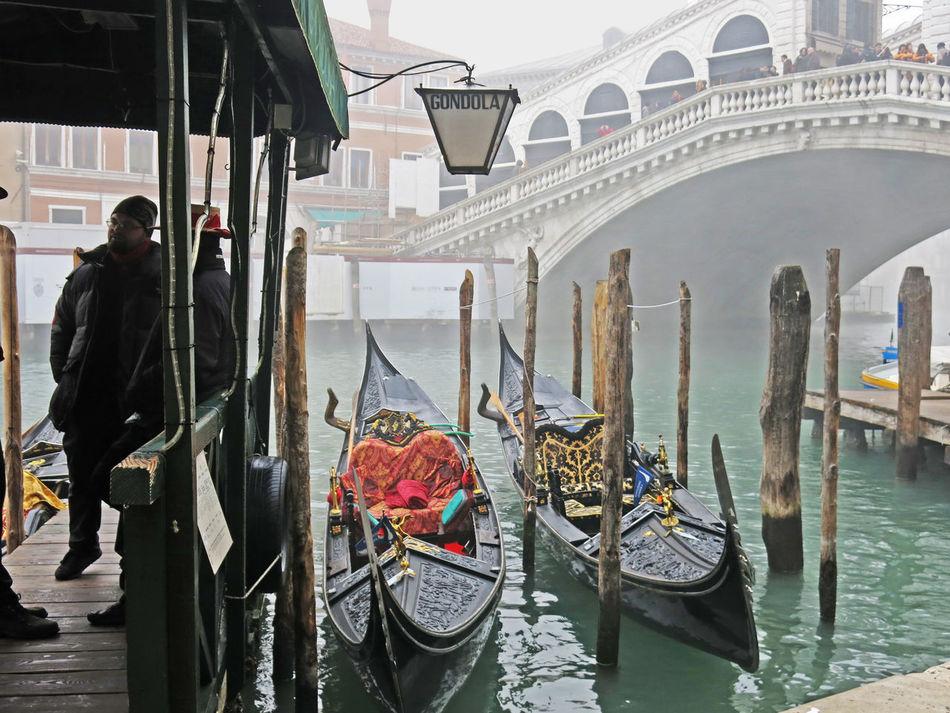 Architecture Bridge - Man Made Structure Canal City Cityscape Cultures Day Foggy Foggy Morning Gondola - Traditional Boat Gondolier Nautical Vessel Outdoors People Rialto Rialto Bridge Rialtobridge Venice Venice, Italy