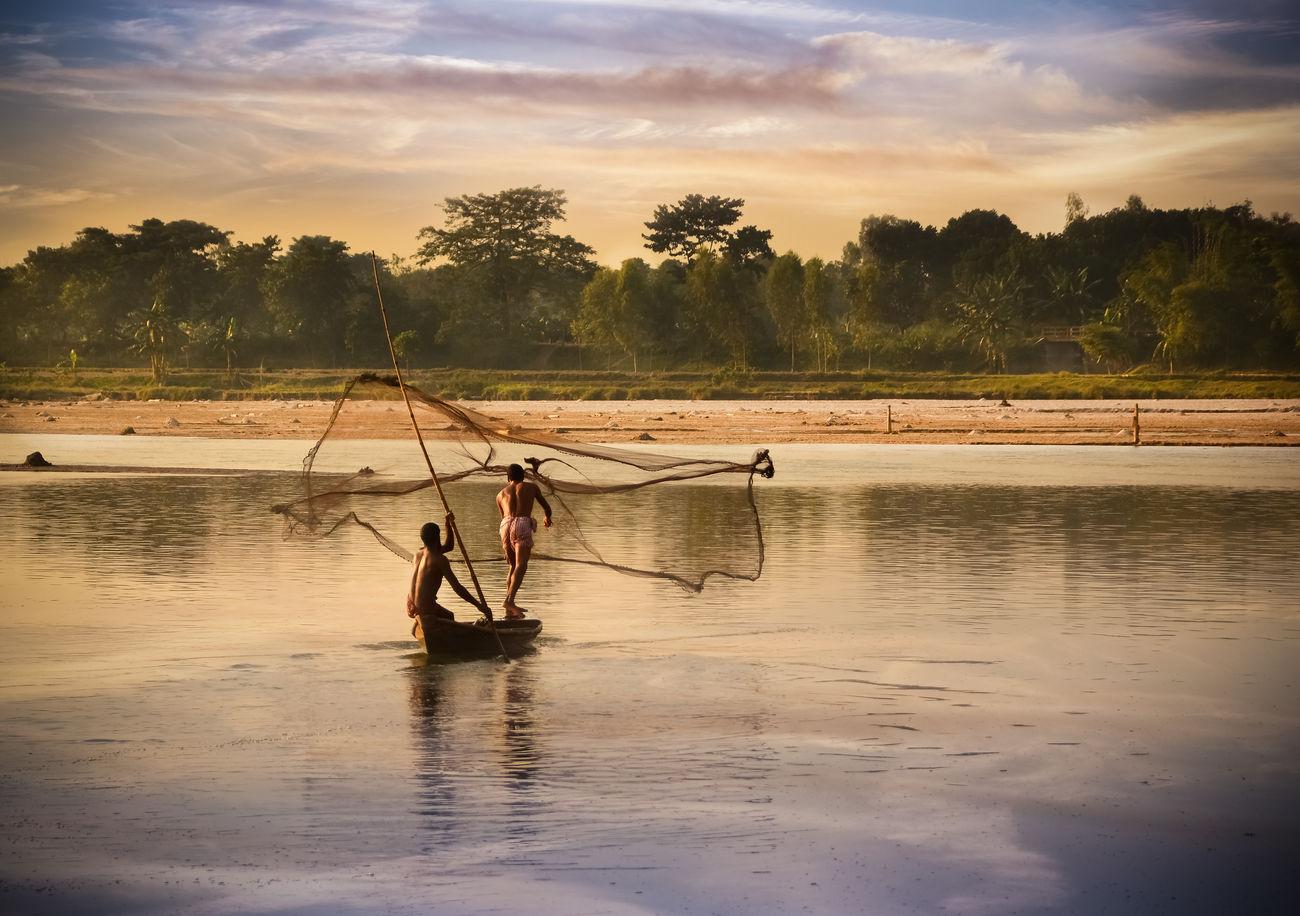 Beautiful stock photos of sonnenuntergang, Bangladesh, Beauty In Nature, Cloud - Sky, Commercial Fishing Net