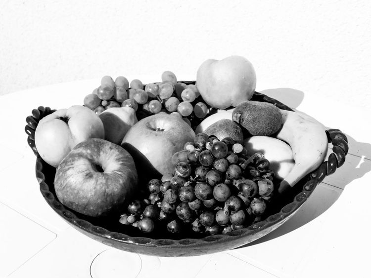 Banana Apples Black And White Bowl Close-up Day Food Food And Drink Freshness Fruit Grapes Healthy Eating Indoors  Large Group Of Objects No People Quince Still Life Table White Background