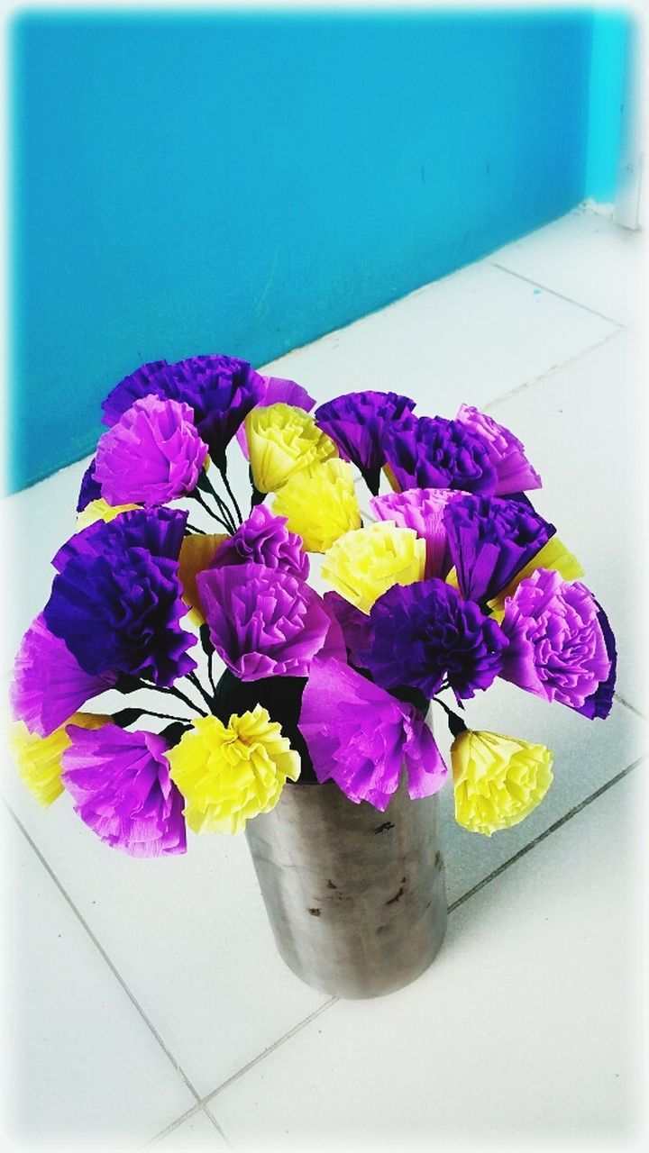 flower, petal, purple, freshness, fragility, multi colored, flower head, beauty in nature, no people, nature, close-up, yellow, indoors, day