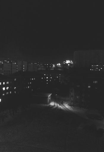 Murmansk Small City Life Night Photography Night View Winter Night Black And White Monochrome Light And Shadow Night Lights Winter